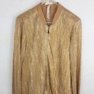 NY Collection Jacket Elastic Waist Metallic -23